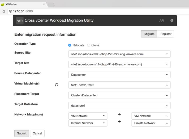Cross vCenter Workload Migration Utility